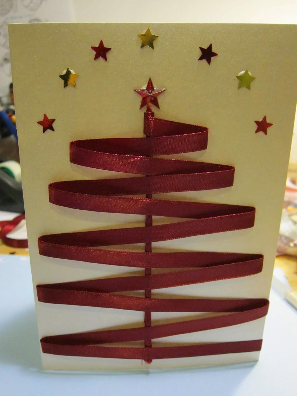 Julekort med silkebånd