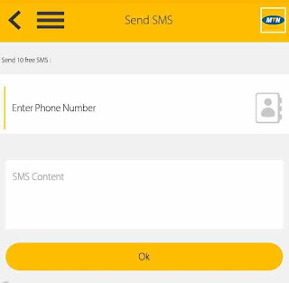 send free SMS message on MyMTN app