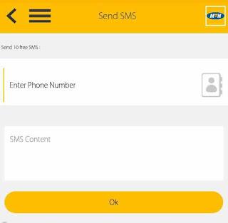 send free SMS message on MyMTN app