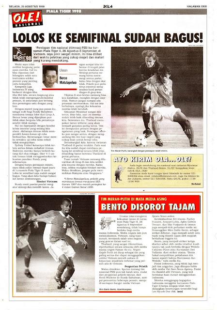 SEPAKBOLA TIM NASIONAL INDONESIA PIALA TIGER 1998