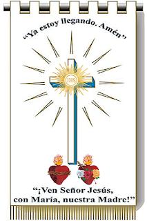 Estandarte del Triunfo de los Sagrados Corazones de Jesús y de María.