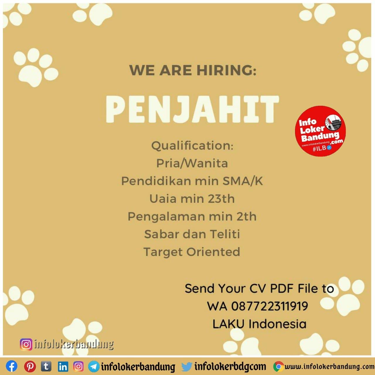 Lowongan Kerja Penjahit PT. Laku Indonesia Bandung Januari 2021