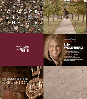 image of invitation that includes images of fall leaves, Lisa Willenberg, and the University Center exterior