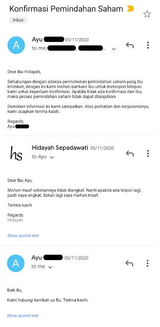 Email 5 November 2020