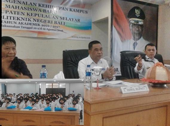 Mahasiswa Baru Politeknik Negeri Bali PDD, Kab.Kep.Selayar, Ikuti Kuliah Umum, Dari, DR.H.Zainuddin,SH.MH