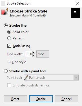 Kotak dialog pengaturan Stroke di GIMP