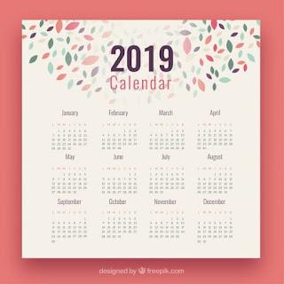Calendario 2019 con elementos coloridos Vector Gratis
