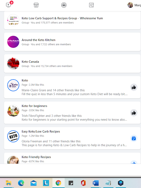 "Screenshot of Facebook search results for ""keto groups"""