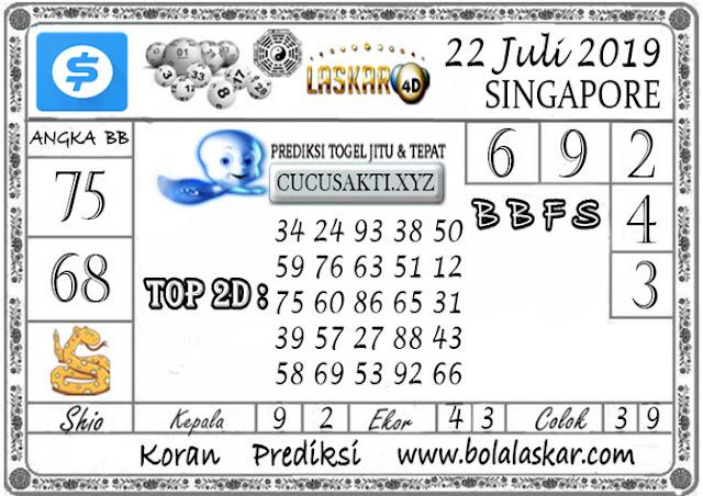 Prediksi Togel SINGAPORE LASKAR4D 22 JULI 2019