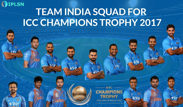 India Team & Squad For ICC Champions Trophy 2017