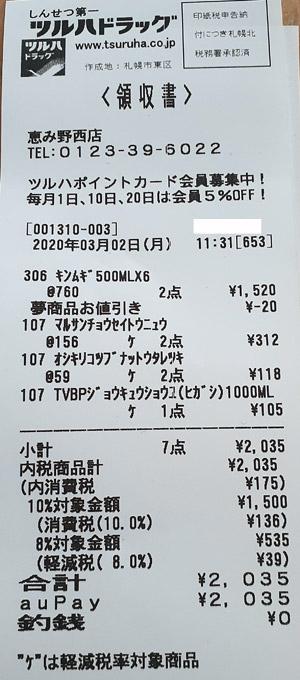 ツルハドラッグ 恵み野西店 2020/3/2 auPAY支払いで20%ポイント還元のレシート