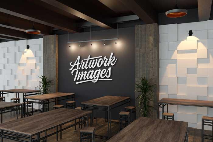 Silver 3D Restaurant Wall Logo Mockup