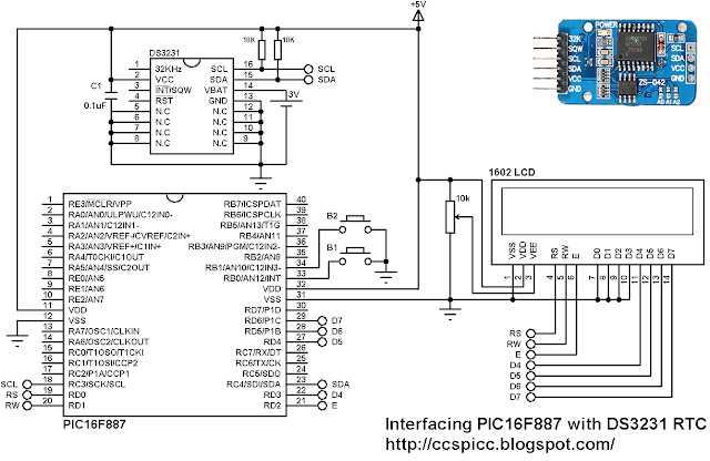 Interfacing PIC16F887 with DS3231 RTC with set buttons circuit