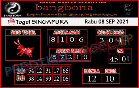 Prediksi Bangbona SGP Rabu 08 September 2021
