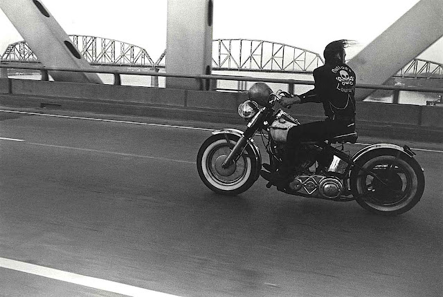a 1966 Danny Lyon photograph of a man in leather on a motorcycle