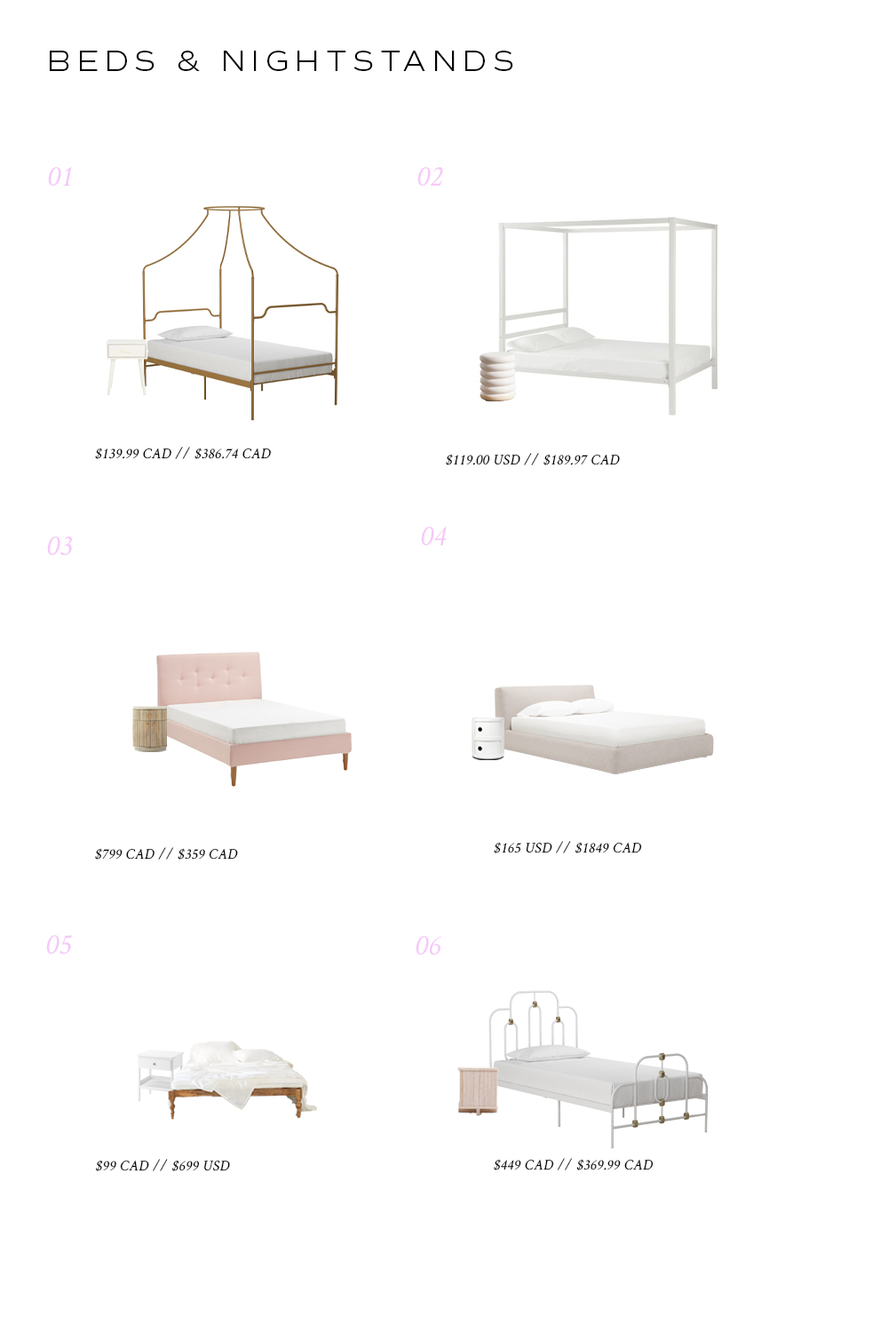 Beds and nightstands and prices