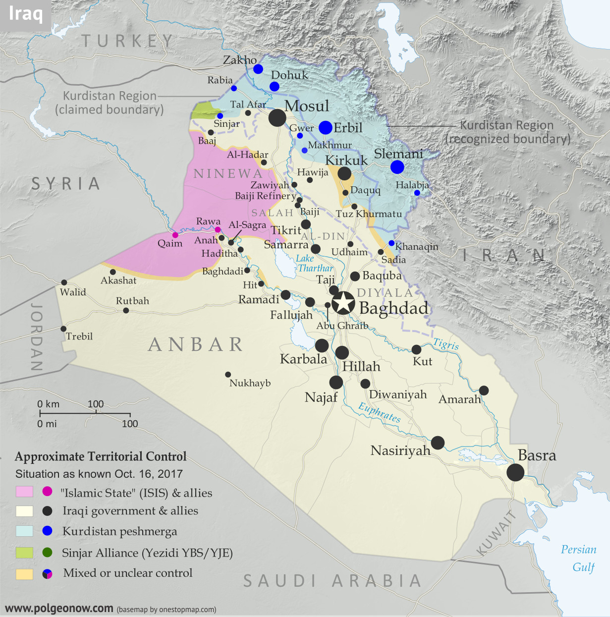 Detailed map of territorial control in Iraq as of October 16, 2017 after the recapture of Hawija and Tal Afar and government seizure of Kirkuk. including territory held by the so-called Islamic State (ISIS, ISIL), the Baghdad government, the Kurdistan Peshmerga, and the Yezidi Sinjar Alliance (YBS and YJE). Colorblind accessible.