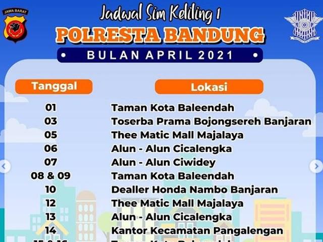 Jadwal Layanan SIM Keliling Polresta Bandung Bulan April 2021