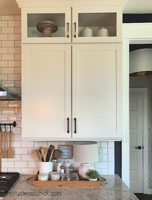 black or brass hardware kitchen