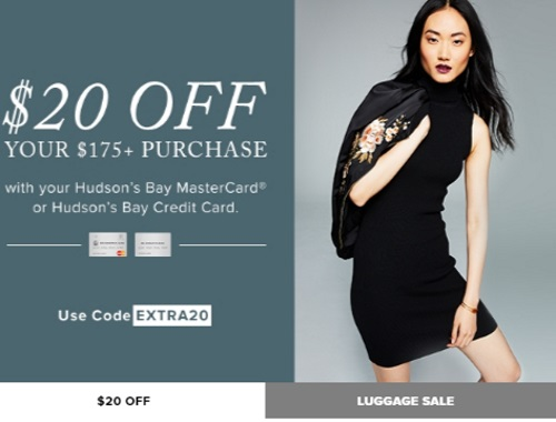 Hudson's Bay $20 Off When You Spend $175 Promo Code
