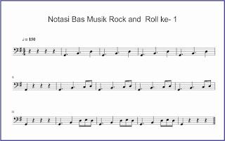 gambar notasi bas rock and roll ke-1 not balok