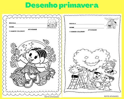 Desenho com imagens primavera turma da Mônica  para colorir e imprimir.