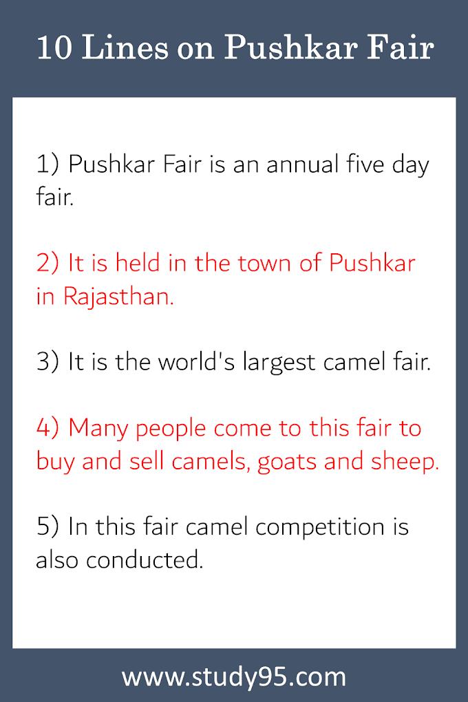 10 Lines on Pushkar Mela - Study95