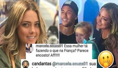 Fã critica a mãe do filho de Neymar por ir à festa dele e toma patada