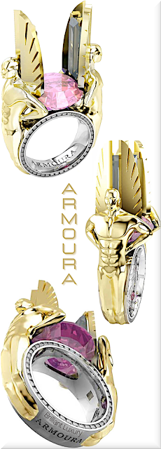 ♦Armoura Icarus pink sapphire ring in 18k white and yellow gold #jewelry #armoura #brilliantluxury