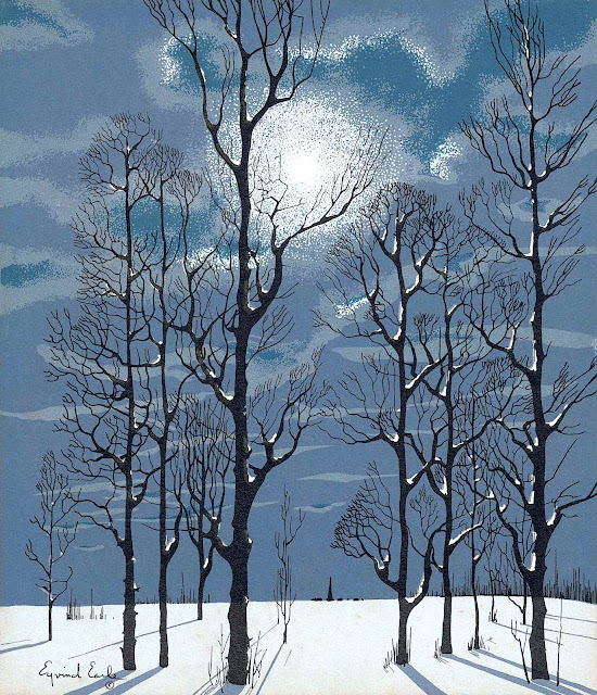 Eyvind Earle, a color winter night scene with trees and moon