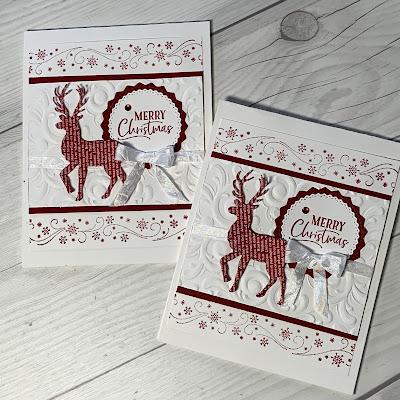 Deer Christmas Card with snowflake borders