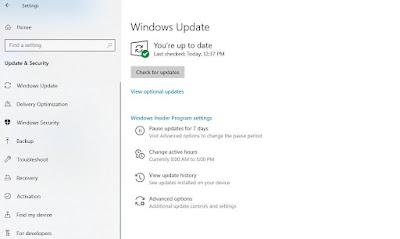 Klik Windows Update, lalu klik Check for updates.