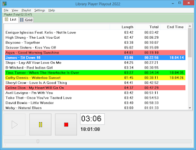 Playout software with a list of tracks playing