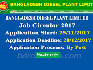 Bangladesh Diesel Plant Limited job circular 2017