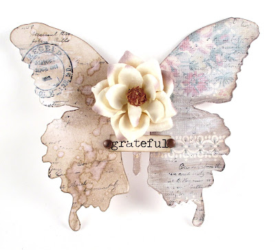 Sizzix Layered Butterfly  Tim Holz Wallpaper Stampers Anonymous Correspondence for the Funkie Junkie Boutique