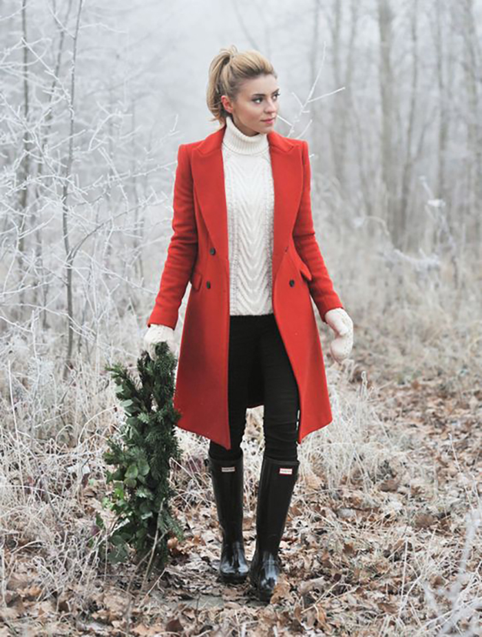 style blogger Christmas wreath red wool jacket 2020