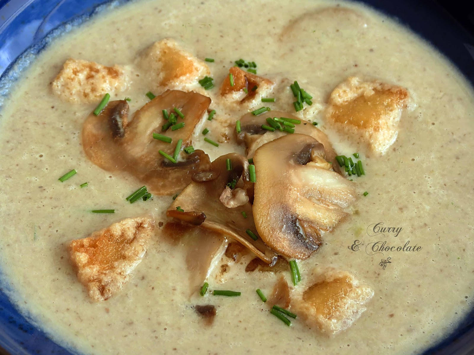 Sopa de champiñones con puerro - Mushroom and leek soup