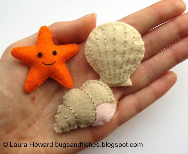 mini felt shells and starfish tutorials