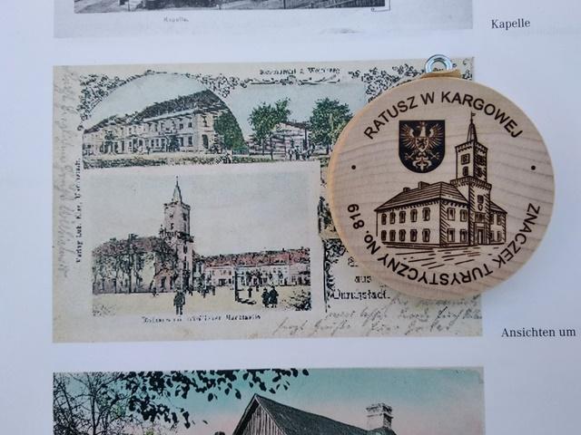 Kargowa, pamiątka z Kargowej, znaczki turystyczne, ratusz, historia