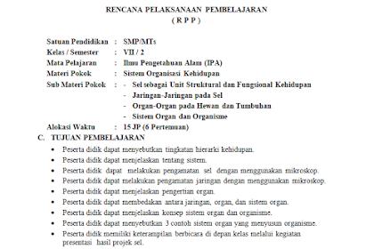 RPP 1 Lembar Kelas 7 SMP/MTs Mapel umum lengkap