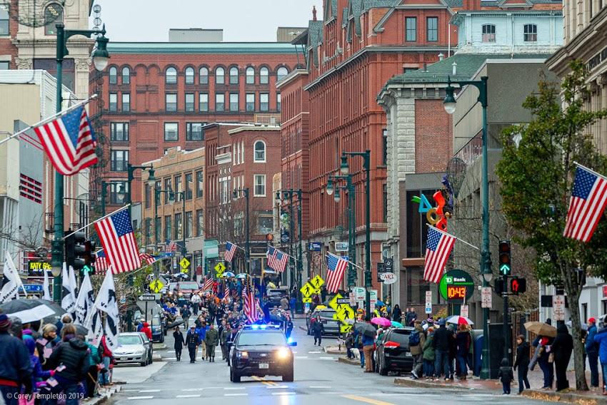 Portland, Maine USA November 2019 photo by Corey Templeton. Portland's annual Veterans Day parade making its way down Congress Street towards City Hall.