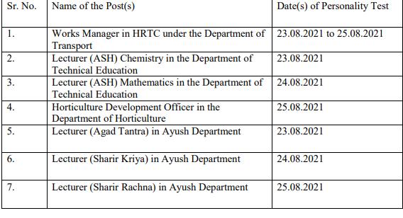 HPPSC Shimla Exam Dates 2021