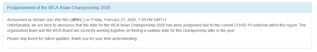 penundaan lomba Asian Championship 2020
