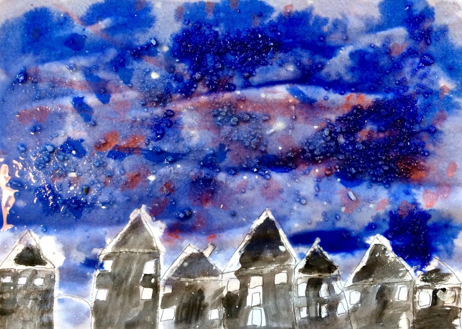 Orașul doarme sub zăpadă (ceară, sare)