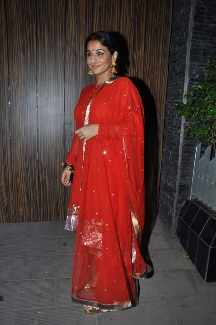 Vidya Balan Hot Photos At Diwali Party In Red Dress