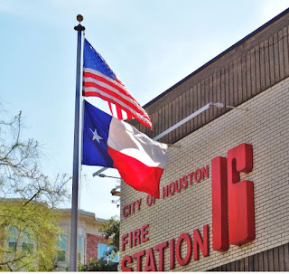 City of Houston Fire Station 16 in Montrose with flags