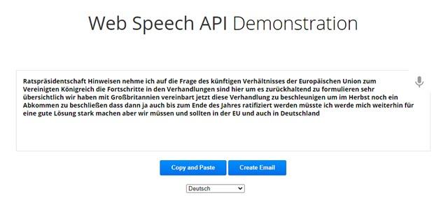 conversione di audio in tedesco in un file di testo