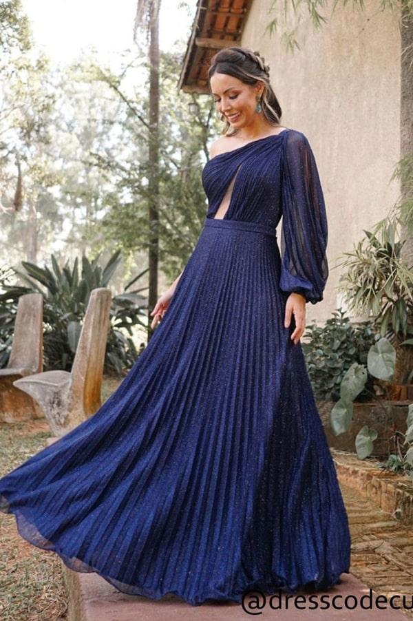 vestido de festa longo azul marinho uma manga