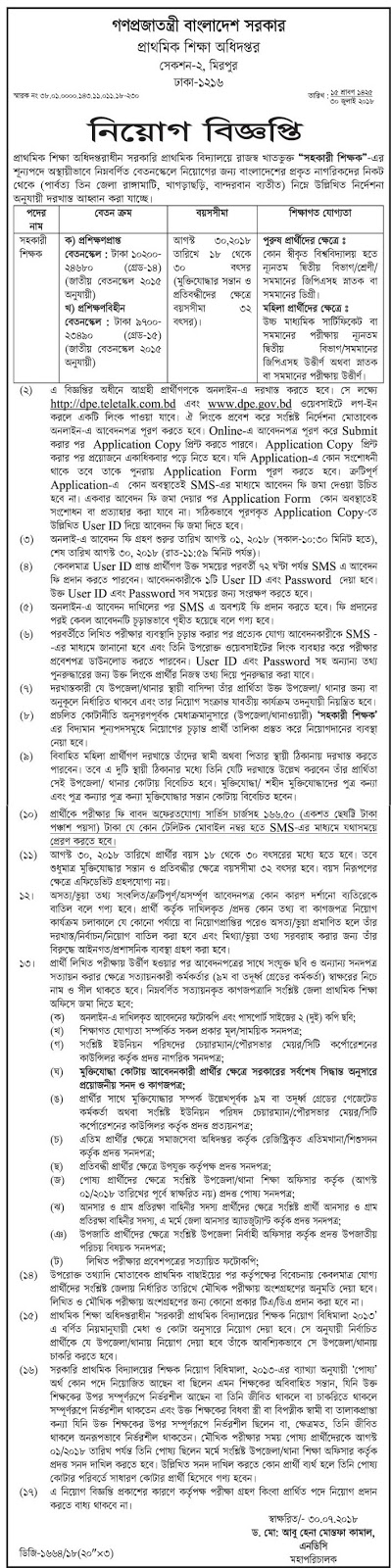 Directorate of Primary Education (DPE) Job Circular 2018