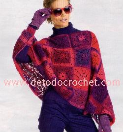 poncho crochet con grannys paso a paso